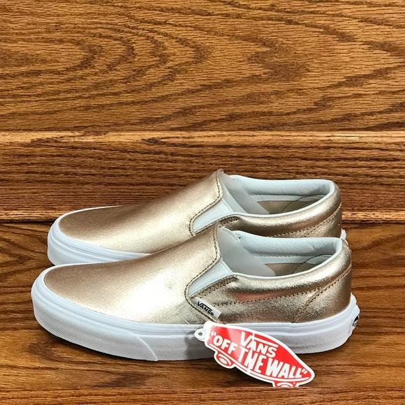 Vans Schuhe Metallic Leather Classic Slip On in Rose Gold